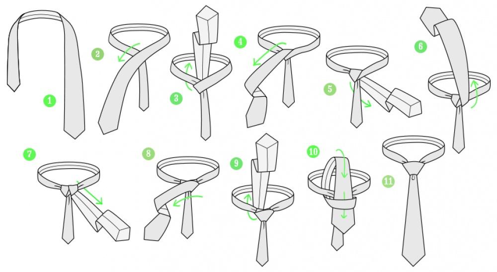 Оригинальная схема завязывания галстука