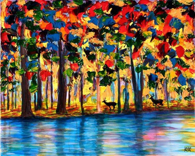Сліпий художник навпомацки створює яскраві полотна