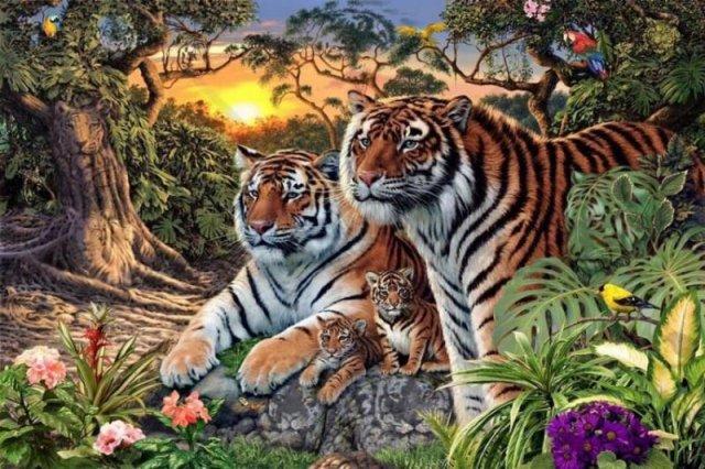 Скільки тигрів на малюнку?