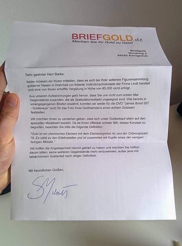 Відповідь клієнту від фірми, що займається скупкою золота