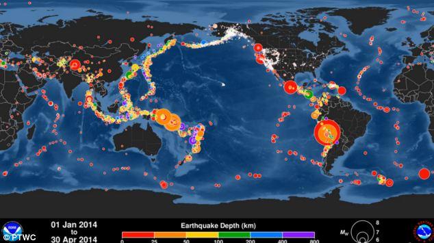 Метеорологи показали карту землетрусів (відео)
