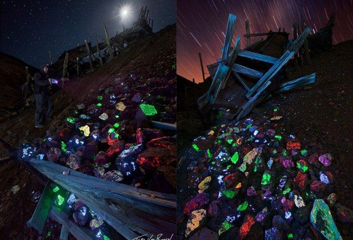 Якщо освітити ультрафіолетом породу старої шахти (фото)