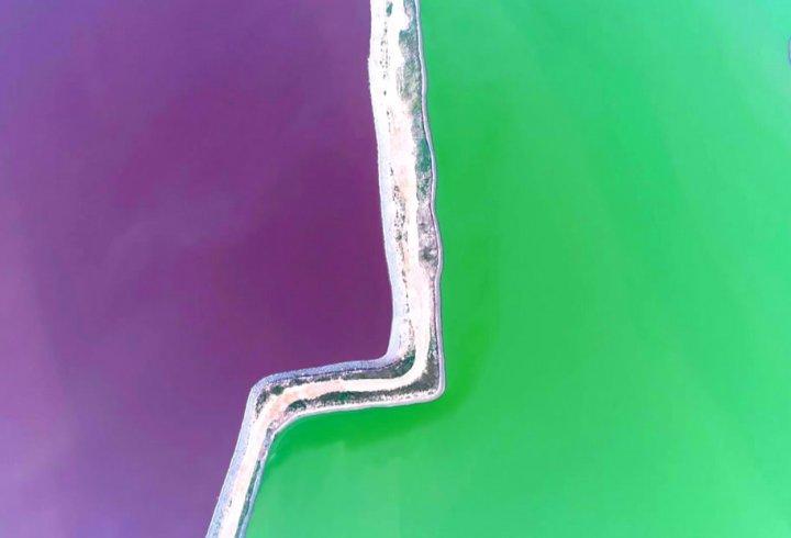 Озеро в Китаї перетворилося на різнокольорові басейни (фото)