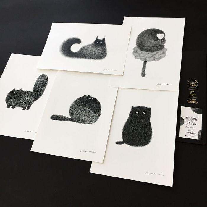 Художник тонкою ручкою створює портрети пухнастих кішок (фото)