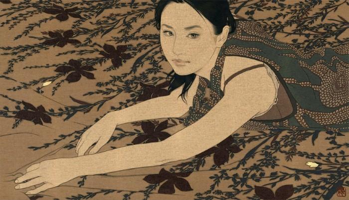 Японський художник пише сучасні портрети в стилі старовинного японського живопису (фото)