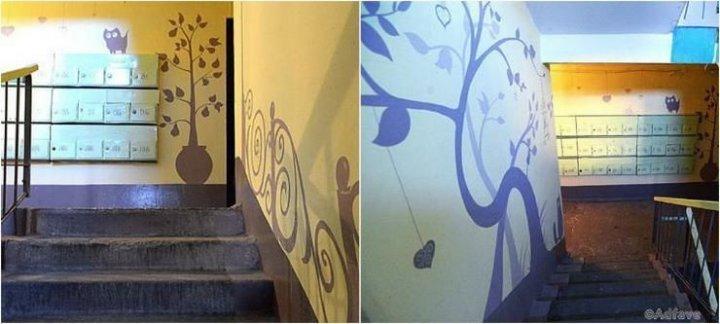 Мешканці під'їзду власними силами змінили кожен поверх старого будинку (фото)