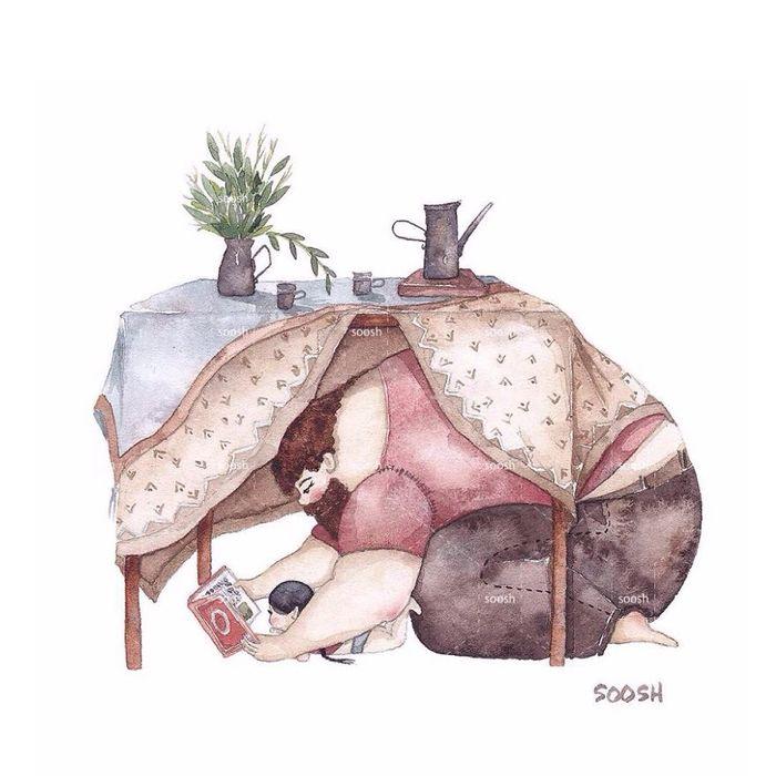 «Тато поряд» теплі ілюстрації української художниці Сніжани Сош