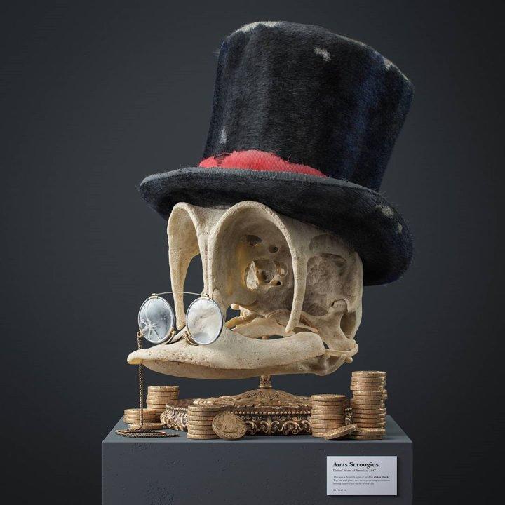 Художник створив реалістичні 3D-ілюстрації черепів відомих анімаційних героїв (фото)