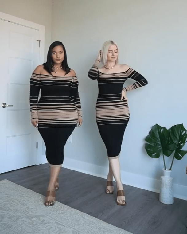 Дві подруги приміряють однаковий одяг, показуючи, як він виглядає на абсолютно різних фігурах (фото)